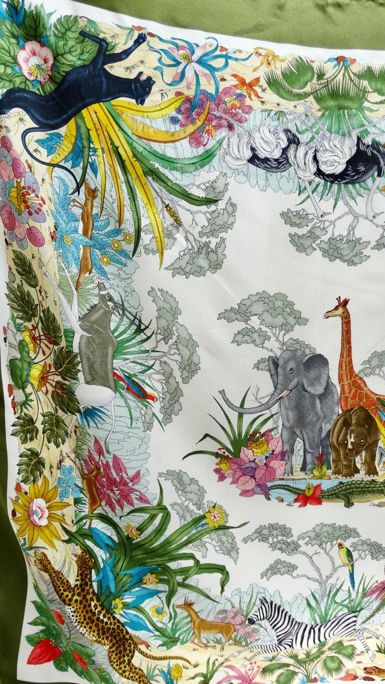 Gucci 1970s V.Accornero Jungle Print Scarf For Sale 3