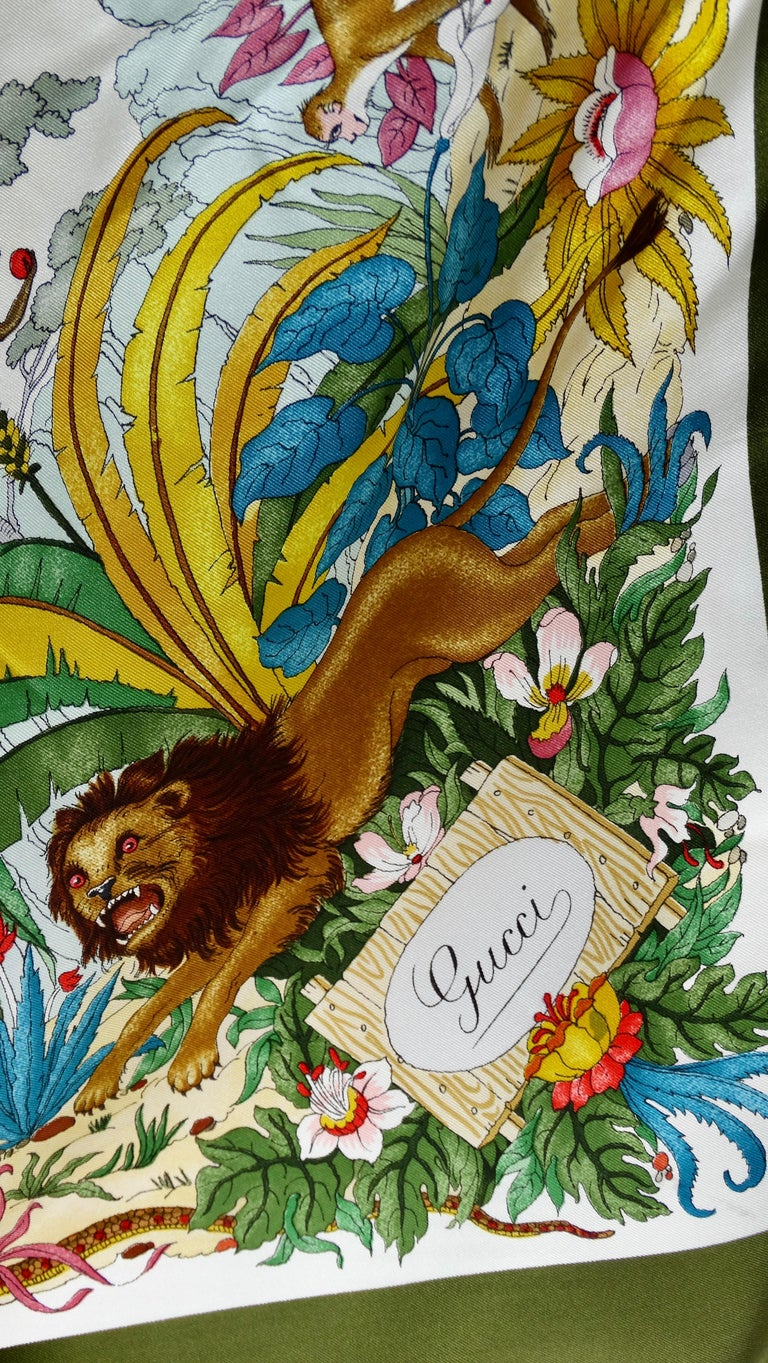 Gucci 1970s V.Accornero Jungle Print Scarf For Sale 5