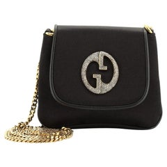 Gucci 1973 Chain Shoulder Bag Satin with Crystal Small