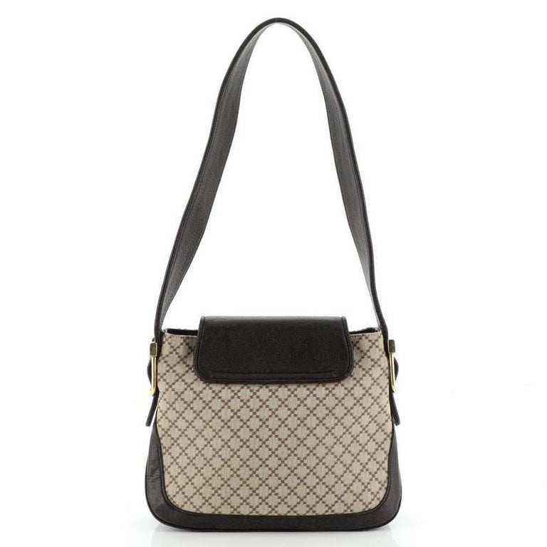 Gucci 1973 Satchel Diamante Canvas and Leather Medium In Good Condition For Sale In New York, NY