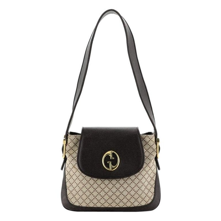 Gucci 1973 Satchel Diamante Canvas and Leather Medium For Sale