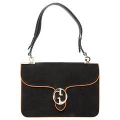 Gucci Black Suede Medium 1973 Double G Shoulder Flap Bag