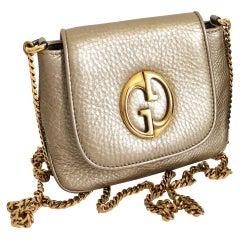 Gucci 1973 Shoulder Bag Gold Pebbled Leather Messenger with Dust Bag NWOT