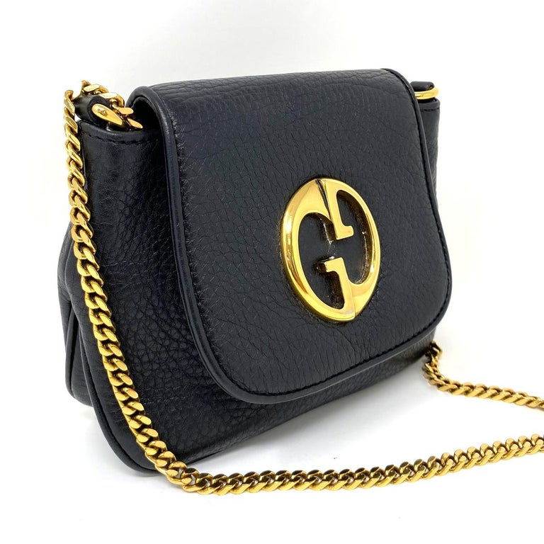 Company-Gucci  Style-1973 Small GHW Black Pebbled Leather Crossbody Bag  Outside-No rips tears or marks on bag exterior   Inside-No rips, tear or stains Pockets-1 pocket inside bag  Handles/ Straps-25