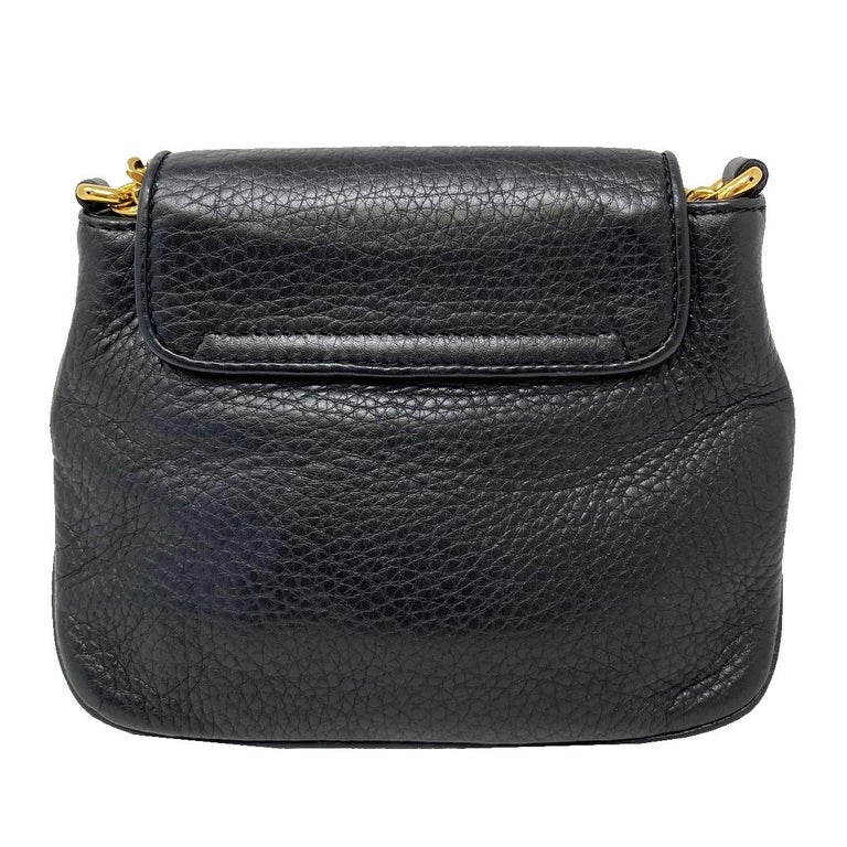 Gucci 1973 Small GHW Black Pebbled Leather Crossbody Bag  In Good Condition For Sale In Boca Raton, FL