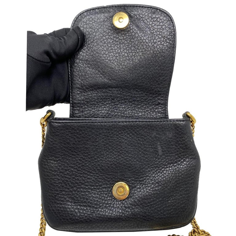 Women's Gucci 1973 Small GHW Black Pebbled Leather Crossbody Bag  For Sale