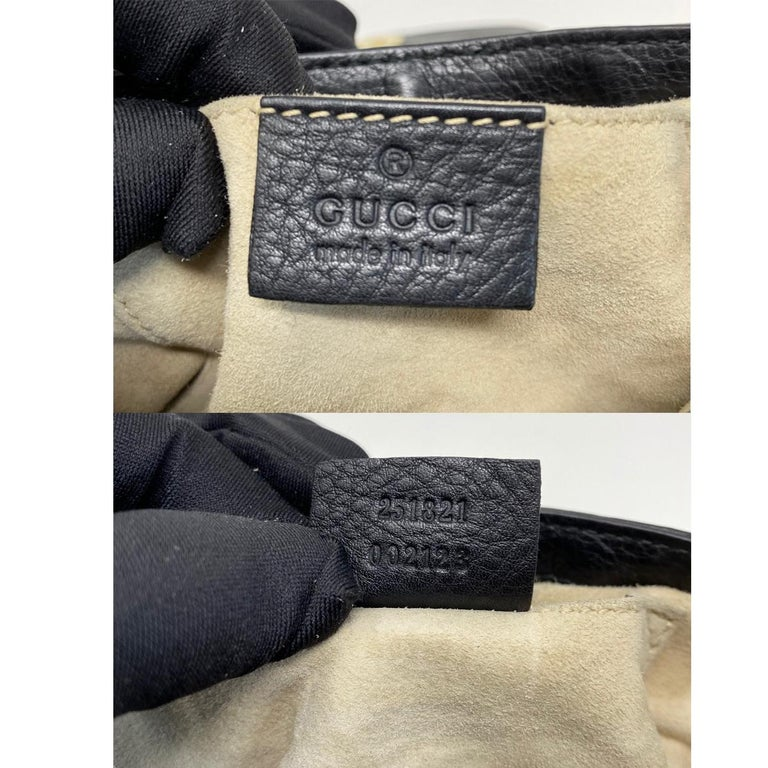 Gucci 1973 Small GHW Black Pebbled Leather Crossbody Bag  For Sale 4