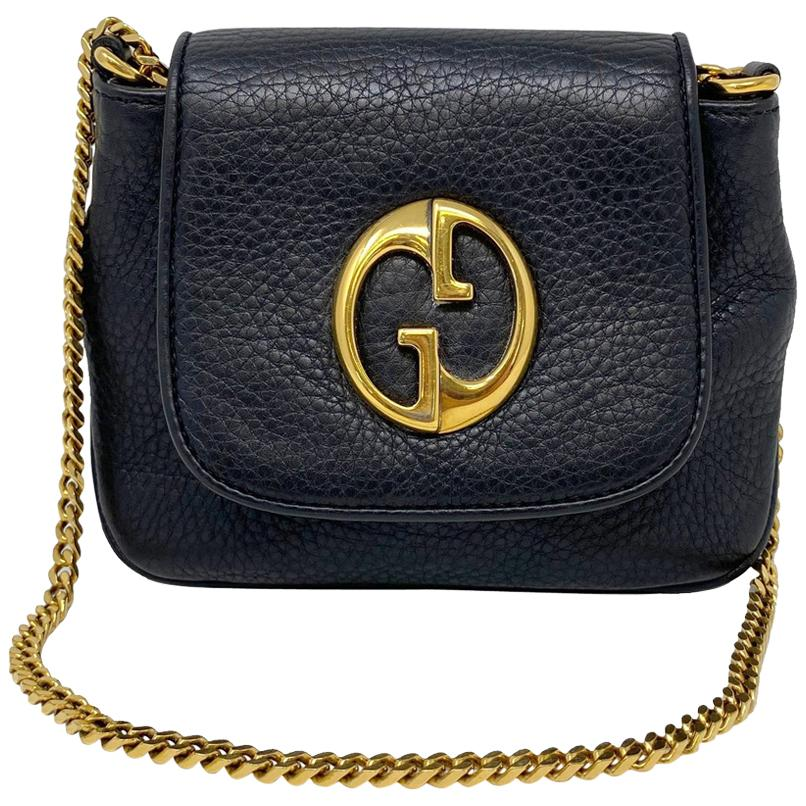 Gucci 1973 Small GHW Black Pebbled Leather Crossbody Bag