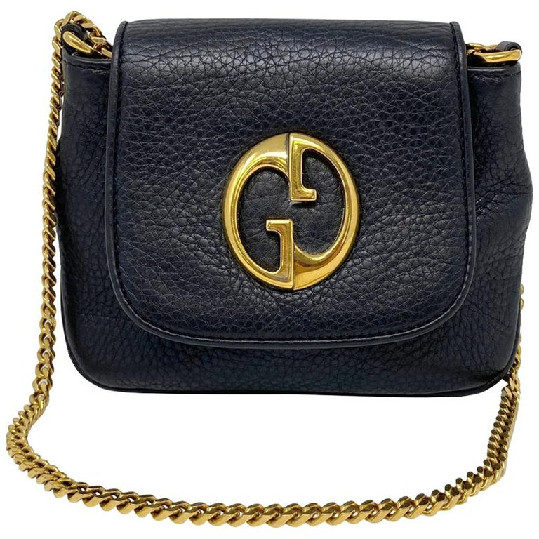 Gucci 1973 Small GHW Black Pebbled Leather Crossbody Bag  For Sale