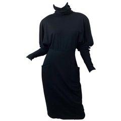 Gucci 1980s Avant Garde Black Size 42 Wool Vintage 80s Turtleneck Sweater Dress