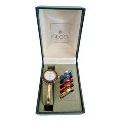 Gucci 1980s Bangle Wrist Watch & Metallic Bezel Set