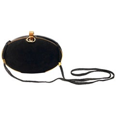 Gucci 1980s Black Vintage Gold shell oval shaped clutch bag