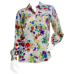 Gucci 1980s Flora Silk Blouse