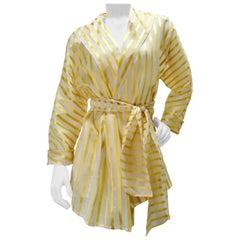 Gucci 1980s Gold Striped Silk Wrap Blouse
