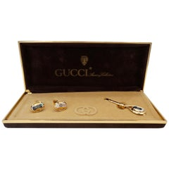Gucci 1980s Mixed Metal Cufflinks & Tie Clip