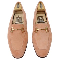 Gucci 1980s Pink Suede Horse-bit Loafers
