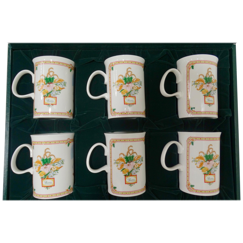 Gucci 1980s Porcelain Flora & Holiday Motif Mug Set