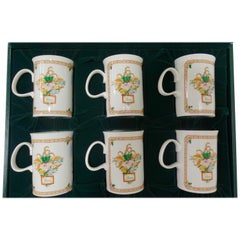 Gucci 1980s Porcelain Flora & Holiday Motif Mug Set