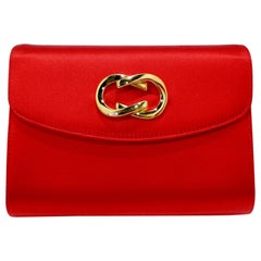 Gucci 1980s Red Satin Clutch