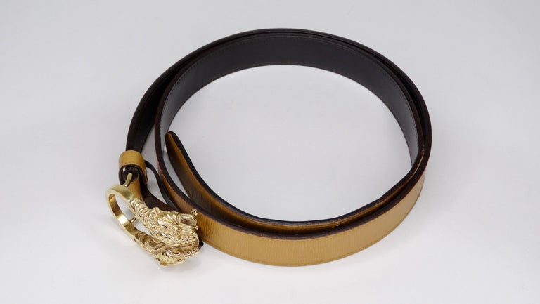 Women's Gucci 1980s Tan Dionysus Leather Belt  For Sale
