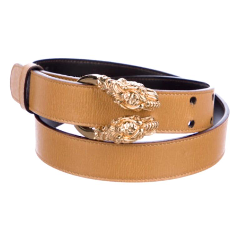 Gucci 1980s Tan Dionysus Leather Belt  For Sale