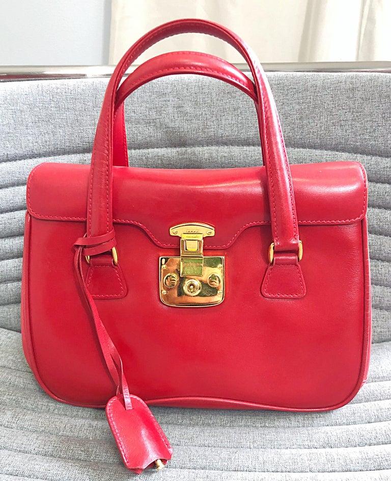 Gucci 1990s Lipstick Red Leather Vintage 90s Purse Handbag Satchel Bag For Sale 6