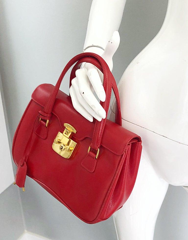 Gucci 1990s Lipstick Red Leather Vintage 90s Purse Handbag Satchel Bag For Sale 7