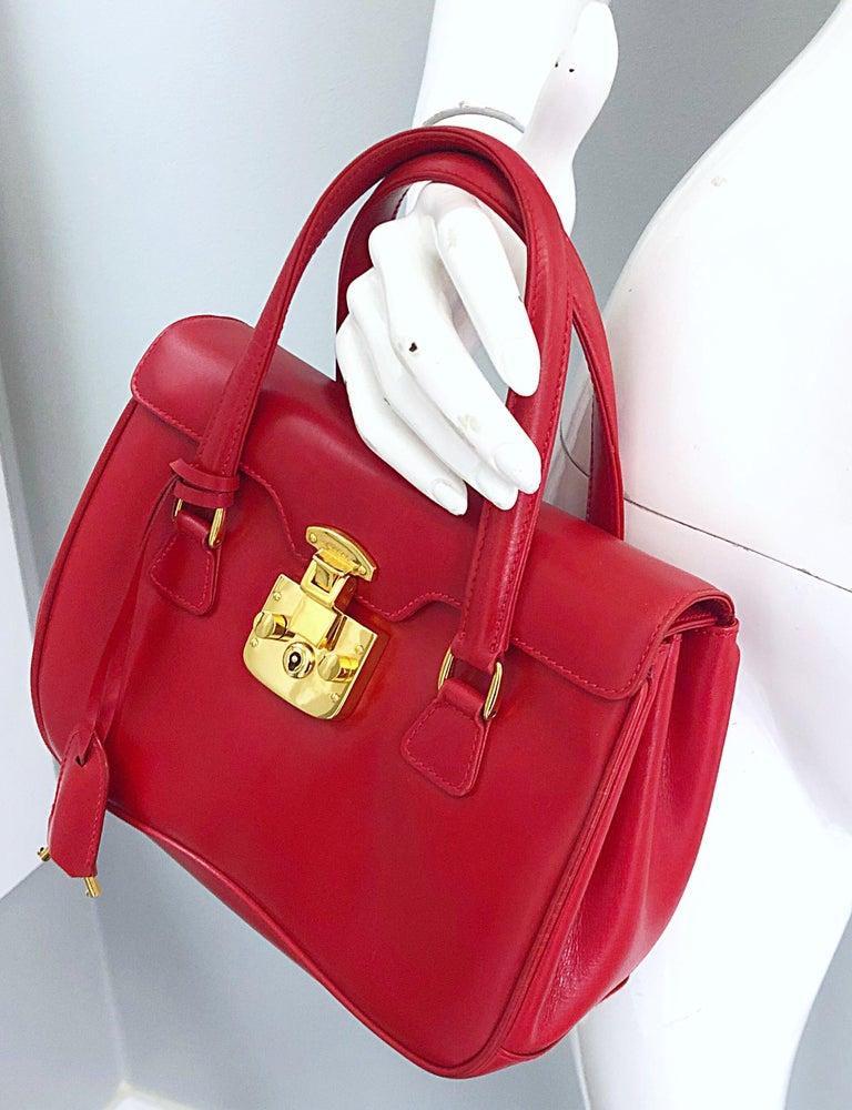 Women's Gucci 1990s Lipstick Red Leather Vintage 90s Purse Handbag Satchel Bag For Sale