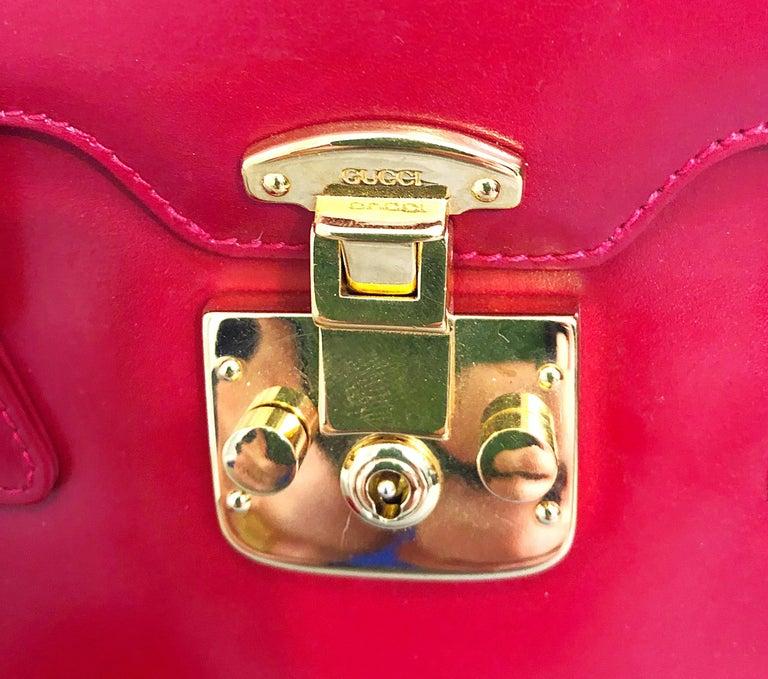Gucci 1990s Lipstick Red Leather Vintage 90s Purse Handbag Satchel Bag For Sale 2