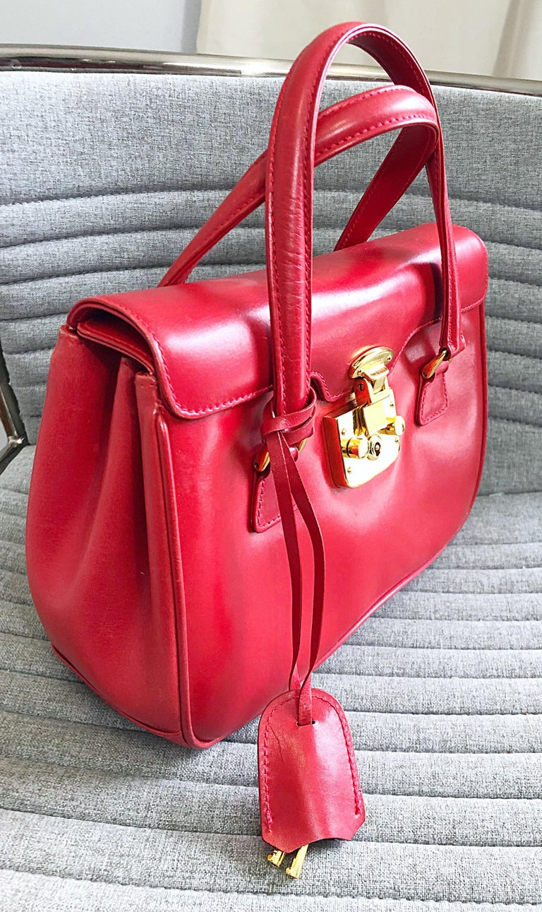 Gucci 1990s Lipstick Red Leather Vintage 90s Purse Handbag Satchel Bag For Sale 4