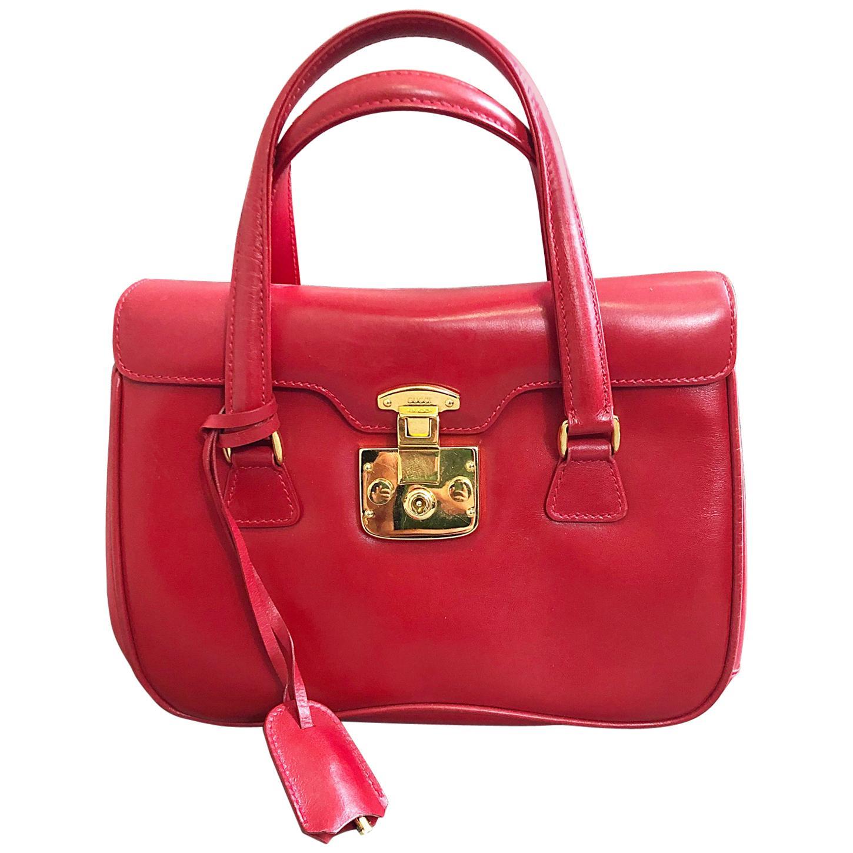 Gucci 1990s Lipstick Red Leather Vintage 90s Purse Handbag Satchel Bag