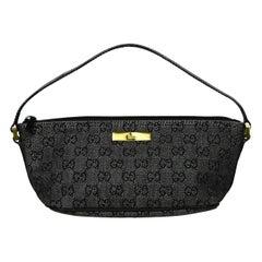 Gucci 1990s Vintage Black Denim Monogram Baguette Pochette Bag