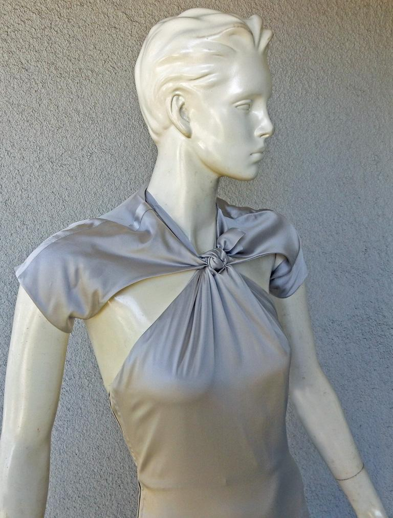 Gucci 2004 by Tom Ford Slipper Satin Silver Harlowesque Bias Cut Out Dress Gown  In New Condition For Sale In Los Angeles, CA