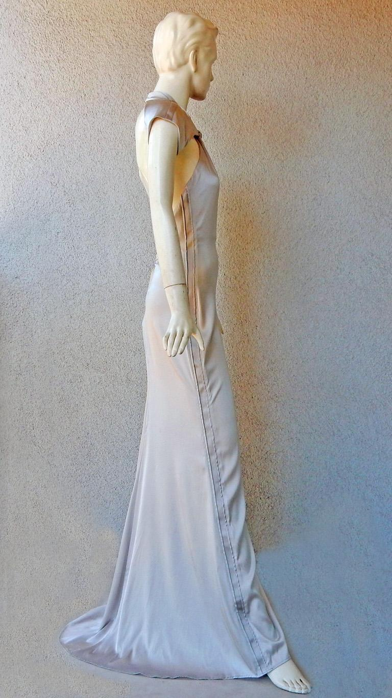 Women's Gucci 2004 by Tom Ford Slipper Satin Silver Harlowesque Bias Cut Out Dress Gown  For Sale