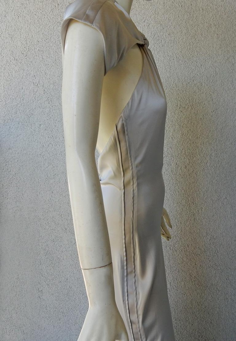 Gucci 2004 by Tom Ford Slipper Satin Silver Harlowesque Bias Cut Out Dress Gown  For Sale 1