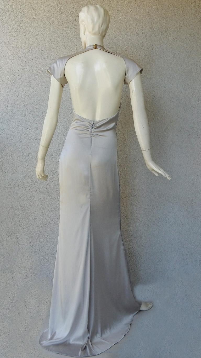 Gucci 2004 by Tom Ford Slipper Satin Silver Harlowesque Bias Cut Out Dress Gown  For Sale 2
