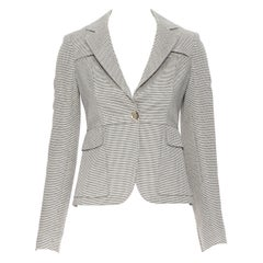 GUCCI 2008 beige black jacquard knit gold button overstitch blazer jacket IT36