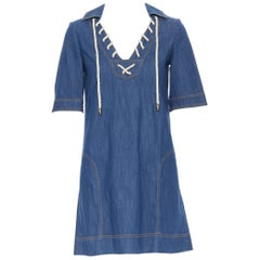 GUCCI 2008 blue denim cotton overstitched nautical rope spread collar dress IT38