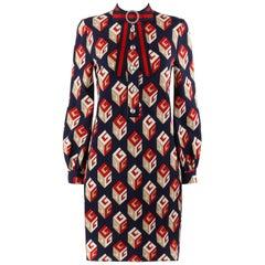 "GUCCI 2017 ""GG Wallpaper"" Navy Blue Red Jewelled Web Bow Jersey Sheath Dress"