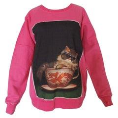 Gucci 2018 Ignasi Monreal Print Pink Cat Teacup Sweatshirt