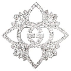 Gucci 2019 Crystal Embellished GG Brooch rt. $888
