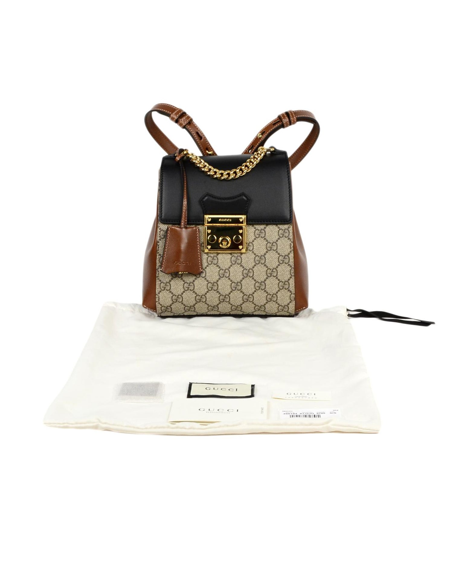 43e2bb62add2 Gucci 2019 Monogram GG Supreme Canvas and Leather Padlock Backpack Bag For  Sale at 1stdibs