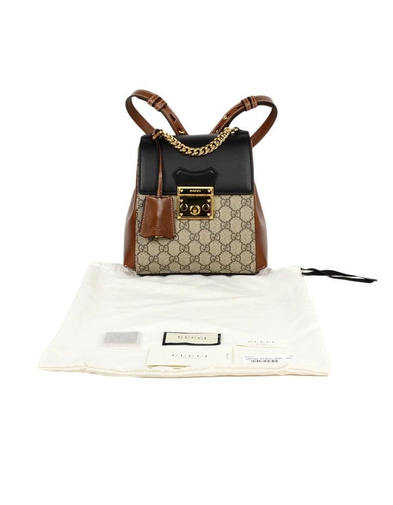 56f41862d6e8 Gucci 2019 Monogram GG Supreme Canvas & Leather Padlock Backpack Bag For  Sale 4