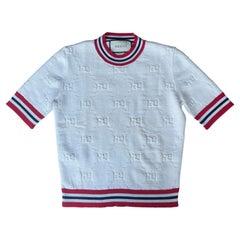 Gucci 2019 White GG Monogram Wool Blend Sylvie Sweater sz XS rt. $1,100