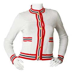 Gucci 2019 White GG Wool Blend Sylvie Cardigan Sweater sz XS