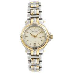 Gucci Two-Tone Steel Cream Sticks Dial Quartz Ladies Watch 9040L