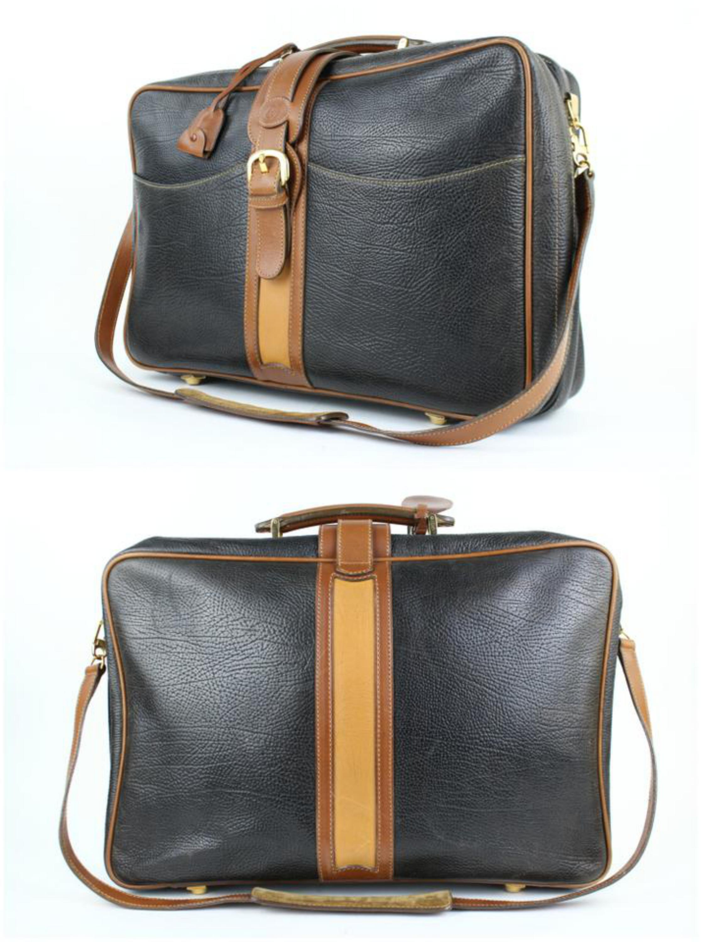 2be5c4e4b4d Gucci 2way Suitcase Carry-on 99gt24 Black Leather Weekend Travel Bag For  Sale at 1stdibs