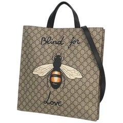GUCCI 2WAY tote Bee unisex tote bag 450950 beige x black