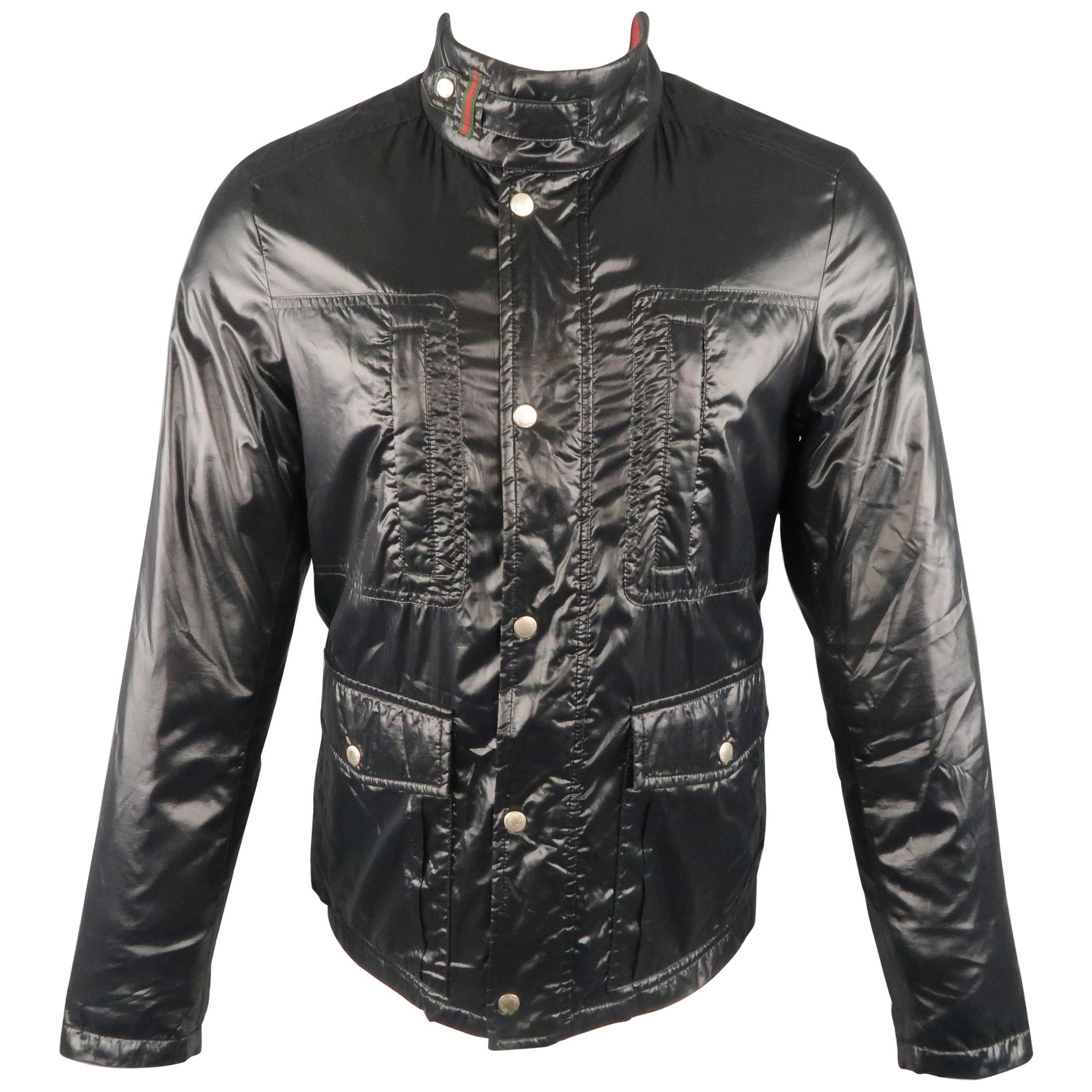 GUCCI 36 Black Shiny High Collar Puff Jacket