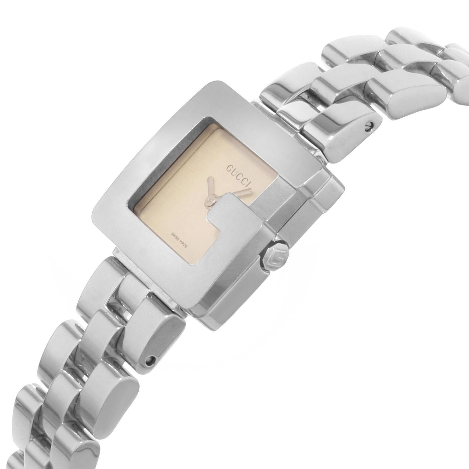 3ca72f78912 Gucci 3600L Square Face Silver Dial Steel Quartz Ladies Watch YA036504 For  Sale at 1stdibs
